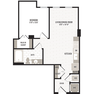 overhead beige, gray and white illustration of A1 one bedroom one bathroom floor plan at Jefferson MarketPlace apartments in Shaw DC