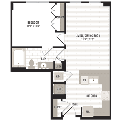 overhead beige, gray and white illustration of A3 one bedroom one bathroom floor plan at Jefferson MarketPlace apartments in Shaw DC