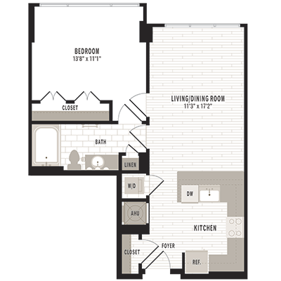 overhead illustration of the A3m1 one bedroom one bathroom floor plan at Jefferson MarketPlace apartments in Shaw DC