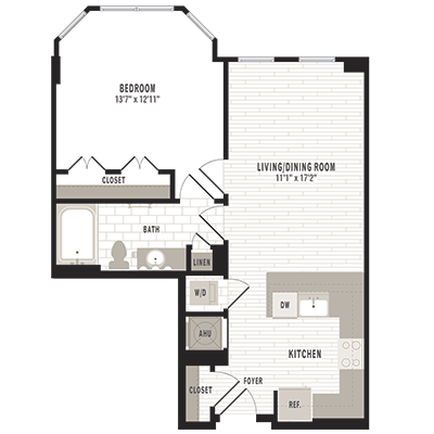 overhead beige, gray and white illustration of A3m2 one bedroom one bathroom floor plan at Jefferson MarketPlace apartments in Shaw DC