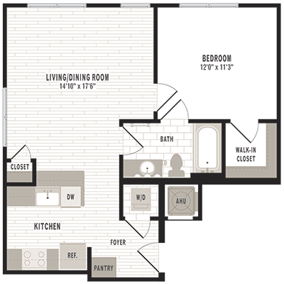 overhead beige, gray and white illustration of A5 one bedroom one bathroom floor plan at Jefferson MarketPlace apartments in Shaw DC