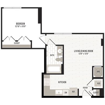 overhead beige, gray and white illustration of A6 one bedroom one bathroom floor plan at Jefferson MarketPlace apartments in Shaw DC