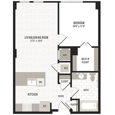 overhead beige, gray and white illustration of A7 one bedroom one bathroom floor plan at Jefferson MarketPlace apartments in Shaw DC