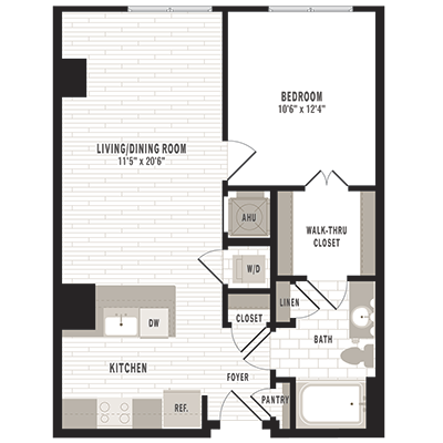 overhead beige, gray and white illustration of A7m1 one bedroom one bathroom floor plan at Jefferson MarketPlace apartments in Shaw DC