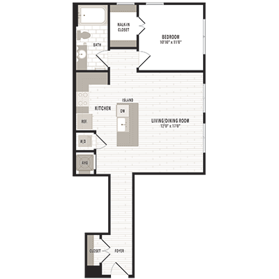 overhead beige, gray and white illustration of A8 one bedroom one bathroom floor plan at Jefferson MarketPlace apartments in Shaw DC