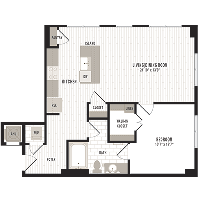 overhead beige, gray and white illustration of A9 one bedroom one bathroom floor plan at Jefferson MarketPlace apartments in Shaw DC