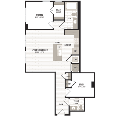 overhead beige, gray and white illustration of B1 one bedroom with study and one bathroom floor plan at Jefferson MarketPlace apartments in Shaw DC