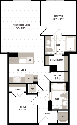 overhead beige, gray and white illustration of B2 one bedroom with study and one bathroom floor plan at Jefferson MarketPlace apartments in Shaw DC