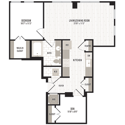 overhead beige, gray and white illustration of B3 one bedroom with den and one bathroom floor plan at Jefferson MarketPlace apartments in Shaw DC