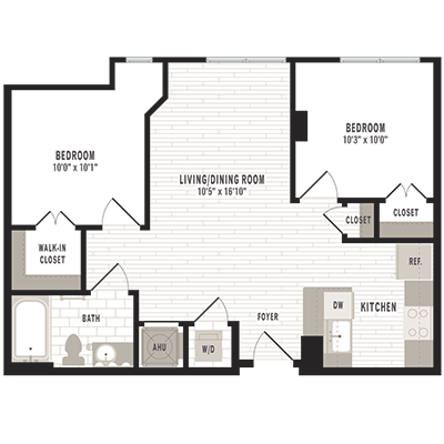 overhead beige, gray and white illustration of C two bedroom one bathroom floor plan at Jefferson MarketPlace apartments in Shaw DC