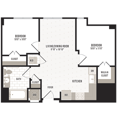 overhead beige, gray and white illustration of C1m1 two bedroom two bathroom floor plan at Jefferson MarketPlace apartments in Shaw DC