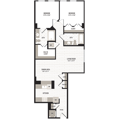 overhead beige, gray and white illustration of C2 two bedroom two bathroom floor plan at Jefferson MarketPlace apartments in Shaw DC