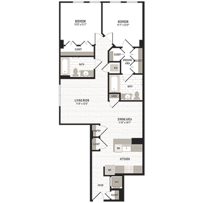 overhead beige, gray and white illustration of C2m1 two bedroom two bathroom floor plan at Jefferson MarketPlace apartments in Shaw DC