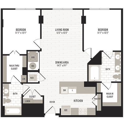 overhead beige, gray and white illustration of C3 two bedroom two bathroom floor plan at Jefferson MarketPlace apartments in Shaw DC