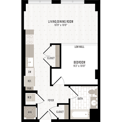 overhead beige, gray and white illustration of S2 one bedroom one bathroom floor plan at Jefferson MarketPlace apartments in Shaw DC