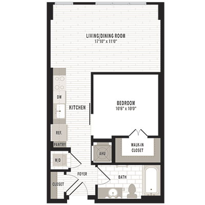 overhead beige, gray and white illustration of S3 one bedroom one bathroom floor plan at Jefferson MarketPlace apartments in Shaw DC