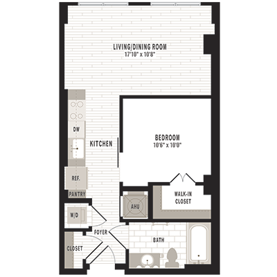 overhead beige, gray and white illustration of S3m1 one bedroom one bathroom floor plan at Jefferson MarketPlace apartments in Shaw DC