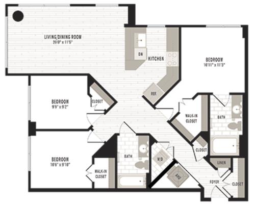 3 bedroom 2 bathroom floorplan - nw dc 3 bedroom apartment shaw